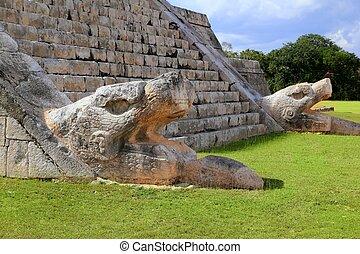 itza,  el, serpiente,  Chichen,  Kukulcan, Maya,  Castillo