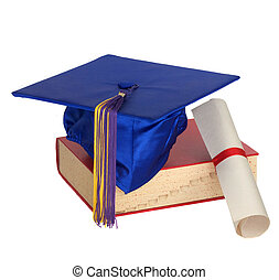 Graduation Hat, Book and Diploma - Graduation cap, book and...