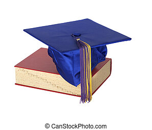 Graduate Hat on Book - A colorful graduation cap resting on...