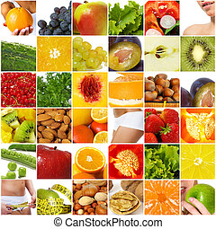 Diet nutrition collage - Fruits vegetable collage. Healthy...