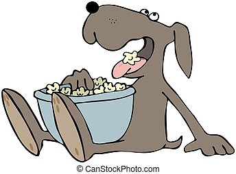 Dog Eating Popcorn - This illustration depicts a dog eating...