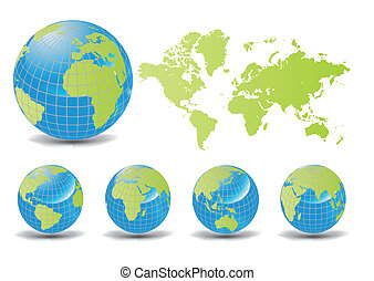 World map with earth globes - World map with Earth globes in...