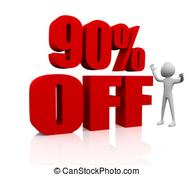 Sale promotion text 90 percent off - 3D render of a 90 per...