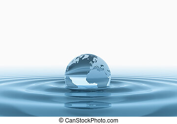 World globe in water  - Blue water ripples and world globe