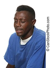 Sad, Grieving African Man - Poor and sad African man...