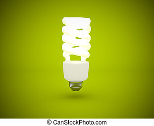 Light bulb lit on green background