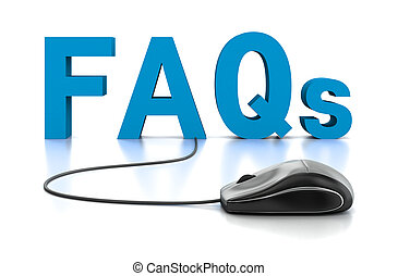 FAQs 3D Text with Computer Mouse. 3D Rendering. White...