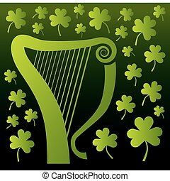 Harp and Shamrocks - An irish celtic harp surrounded by...