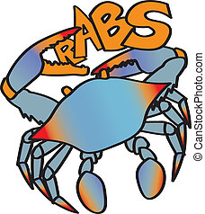 Crabs - A chesapeake bay blue crab whose claw forms the c in...