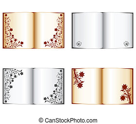 vector illustration of a set of open books with floral decoration isolated on a white background