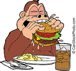 ape burger - An ape eating a big greasy hamburger with a...