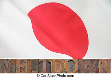 meltdown Japan - the words Japan and meltdown in old wood...