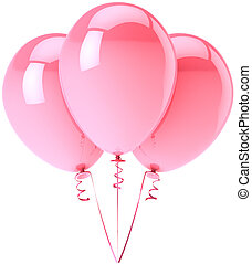 Three balloons colored pink