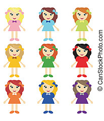 nice little girls on white background vector