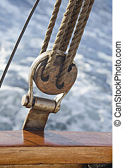 Pulley attached to the ship's deck, against sea water