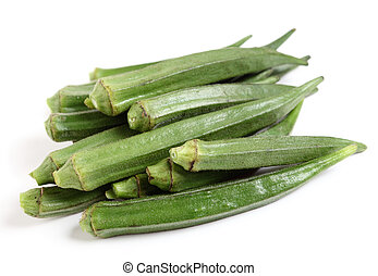 "Okra - A heap of okra or ""ladies fingers"" on a white..."