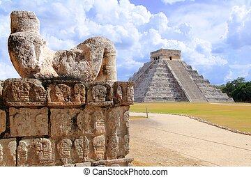 itza,  Chac, antiguo, figura,  México,  Mool,  Chichen