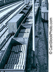 wagon 3 - Freight cars in cargo port in the early spring