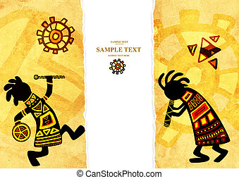 African traditional patterns - Dancing musicians African...