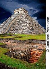 itza,  Chichen, pirámide,  el,  Kukulcan, Maya,  Castillo