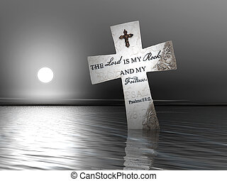 Religious Cross in Water - A religious cross with bible...