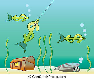 Fished In - A Dollar sign fish getting caught on a fishing...
