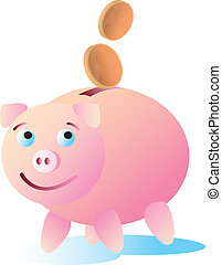 Happy Piggy Bank - Money going into a happy and content...