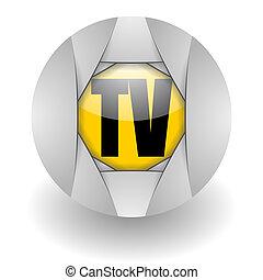 tv steel glosssy icon