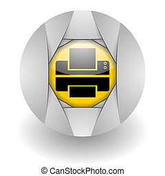 printer steel glosssy icon