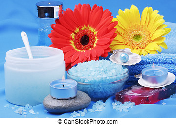 Aroma Therapy - towels, candle and flower in health spa for...