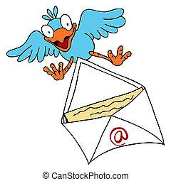 Bird Delivering Email