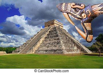 itza,  Chichen, antiguo,  Kukulcan, Maya, serpiente, templo