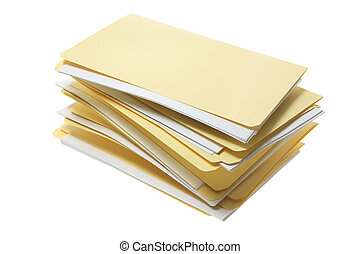 Manila File Folders on White Background