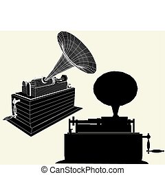 Antique Edison Gramophone Vector
