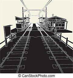 Antique Railway Station Vector