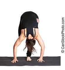 yoga excercising ARDHO baddha padmottanasana - full-length...