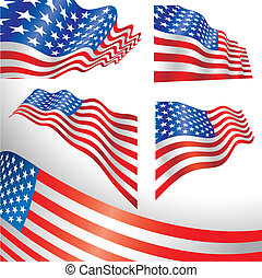 USA windy flags - Set of classics USA flags distorted by the...
