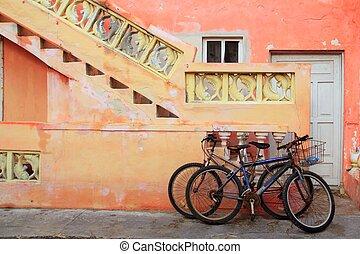 Caribe,  tropical, naranja,  bicycles, fachada,  Grunge