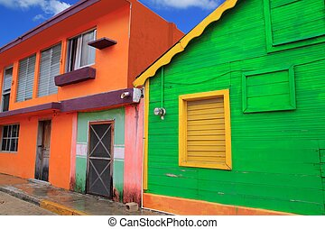 colorful Caribbean houses tropical Isla Mujeres - colorful...