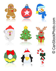 Isolated Christmas Icons - Christmas Icons Santa Claus,...
