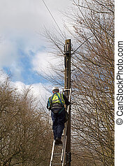 Engineer Working on Telephone Line - Maintenace engineer...