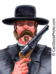 gunfighter - An image of an old west gunfighter holding a...