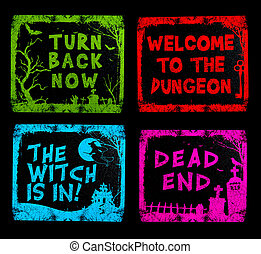Colorful Halloween Signs