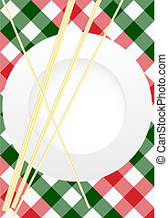 Menu Card Design - Red and Green Gingham Texture With Plate...