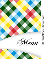 Menu Card Design - Menu Sign on Multicolor Gingham Texture