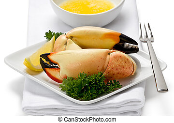 Stone Crab Claws - Two florida stone crab claws on appetizer...