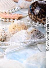 pearly shells - image of pearls and shells together with a...