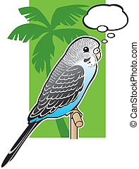 Baby Blue Budgerigar Parakeet - Illustration of a Baby Blue...