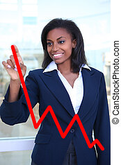 Woman Making Graph Chart - Pretty business woman drawing a...