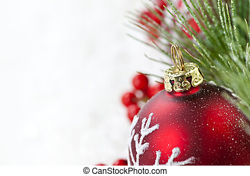 Red Christmas ornament border - Red Christmas decoration...